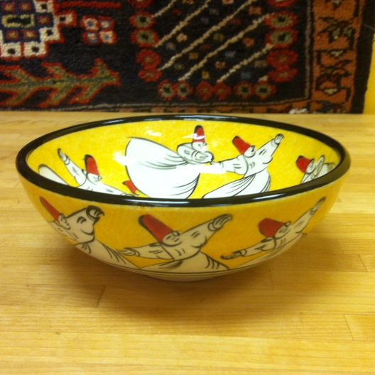 WHIRLING DERVISH CERAMIC BOWL - ORANGE, TURKISH CERAMIC