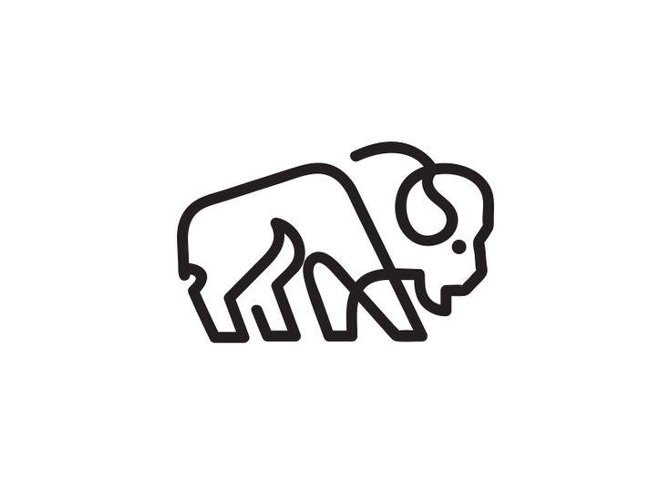 Bison line by matthieumartigny - Dribbble