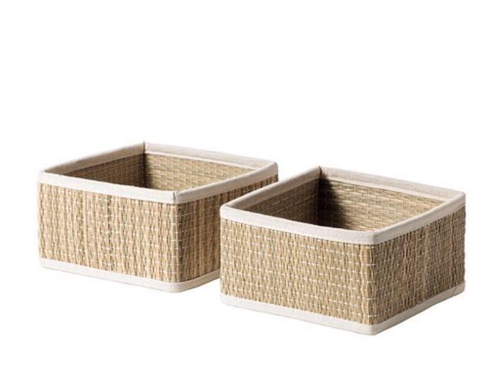 Ikea Salnan Seagrass Storage Box 2 Pack 16x16x9. BNWT