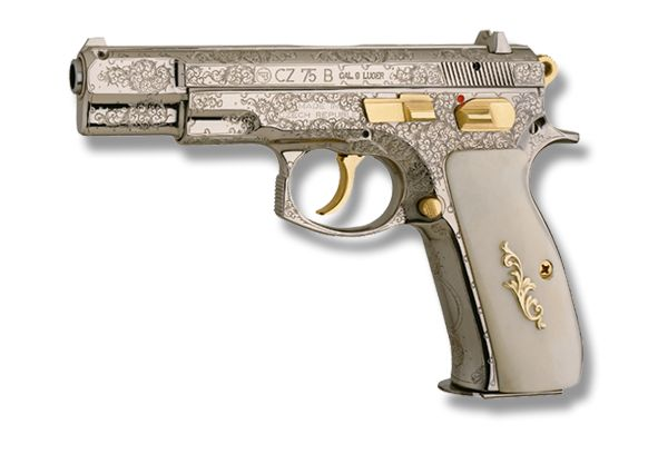 etched guns   The CZ 75 B pistol Order No. PI - 19, has a burnished nickelled ...