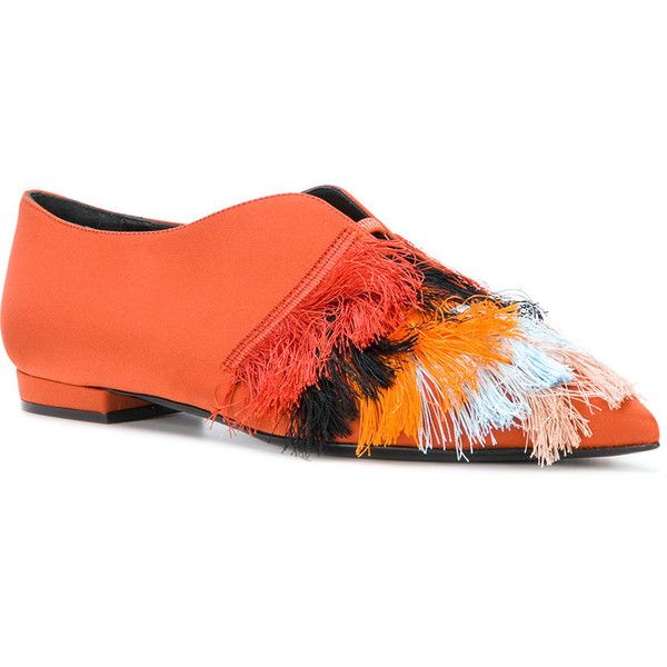 Coliac fringed pointed ballerinas ($668) ❤ liked on Polyvore featuring shoes, flats, pointed ballet shoes, ballerina flats, orange flats, pointy-toe flats and pointed ballet flats