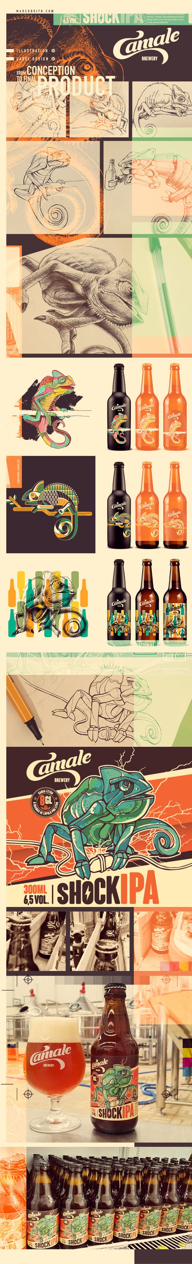 Beer Label Design, illustration for Camale Brewery - http://www.camale.com.br/