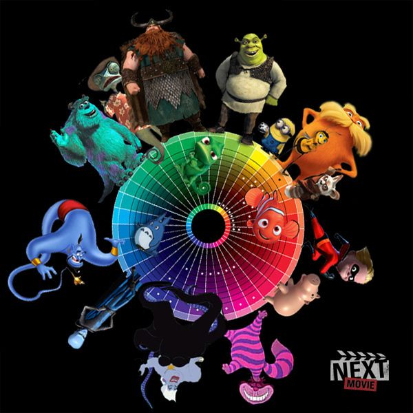 Pixar Character Design Tips : Disney pixar characters on the color wheel art with