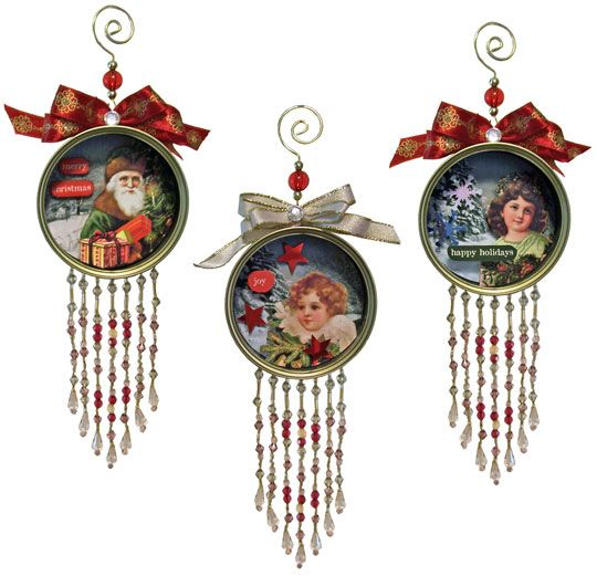 Tin Can Ornaments: using tuna cans, the Christmas Tin Cans sheet from Ten Two Studios, some swirly ornament hangers, and a little beaded fringe.