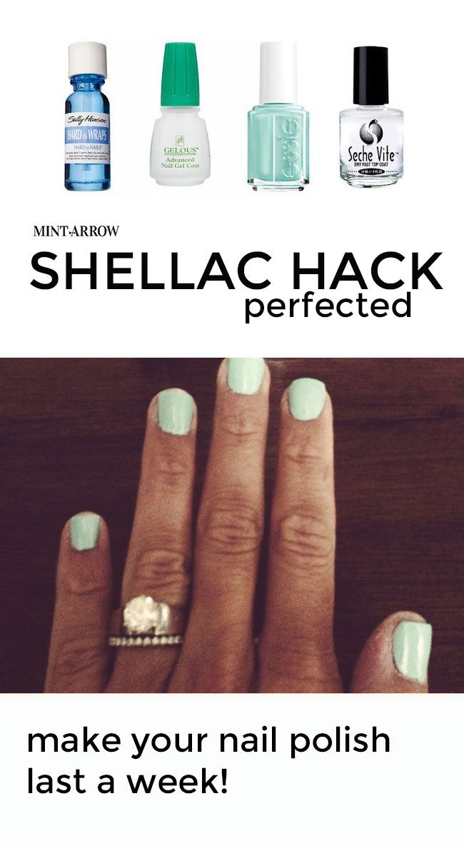 shellac hack - make your nail polish last a week! no curing light required, and it comes right off with nail polish remover. #diybeauty #shellac #nailpolish