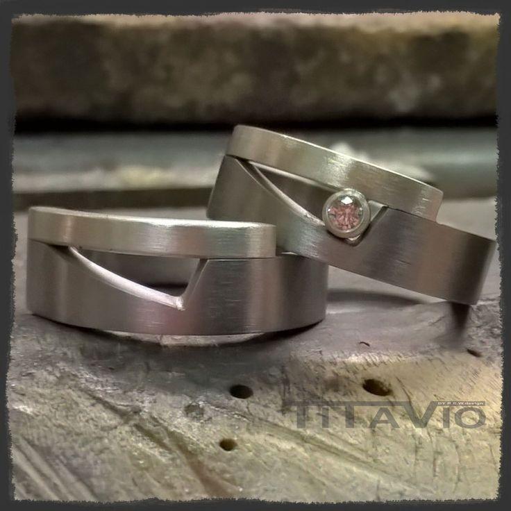 Titanium vriendschaps ring met zilver en zirkonia