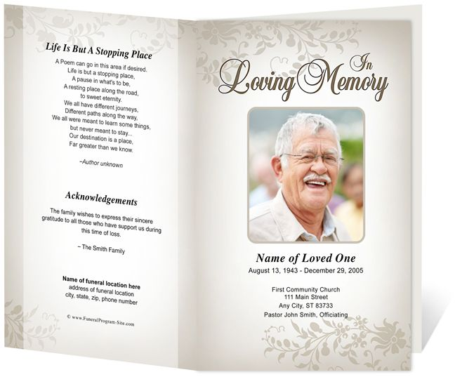 Obituary Card Template Death Announcement Flyer Free Funeral Program