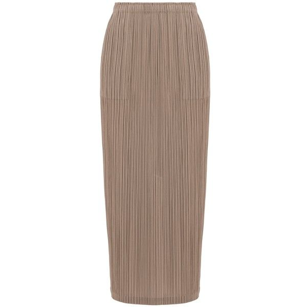 Pleats Please Issey Miyake Maxi Skirt (19.550 RUB) ❤ liked on Polyvore featuring skirts, maxi skirt, long brown maxi skirt, pleated skirts, elastic waist long skirts and brown maxi skirt