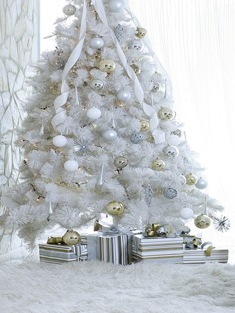 """Crystal Christmas / 205 Gold, White & Silver Christmas. I think I'd like a white """"white pine"""" tree. I used some tabletop trees this year (green), but added loads of white and silver to them and they were so pretty.....that now I'd like a small, but full/dense white tree."""