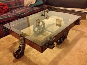 Wheeled Antique Coffee Table