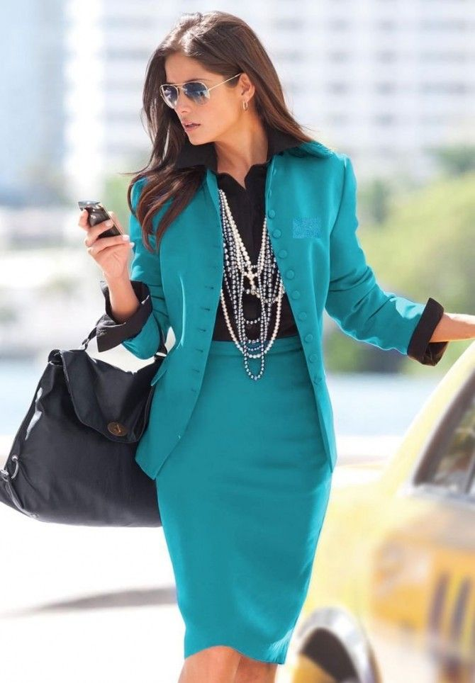 Business suite for women. Classic style never fades away! The necklace might be a bit much, but I love the teal color!