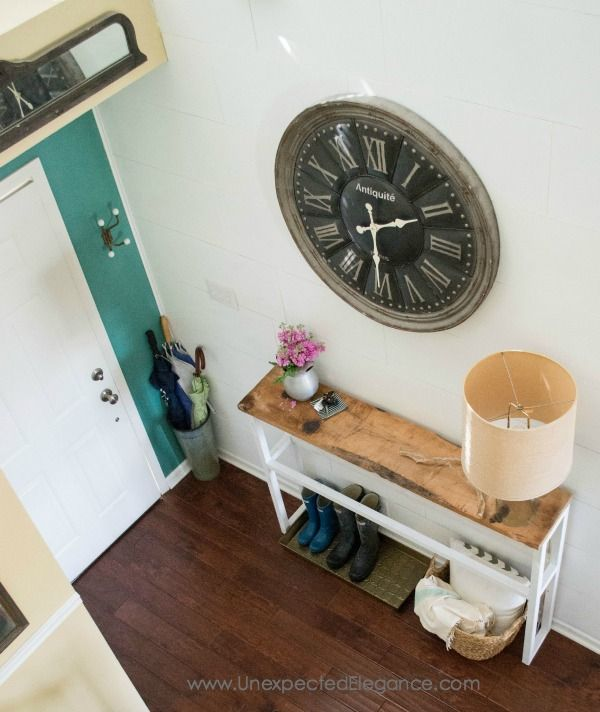 Narrow rustic table; see http://blog.jennasuedesign.com/2015/06/diy-sofa-table-tutorial/ for step by step guide