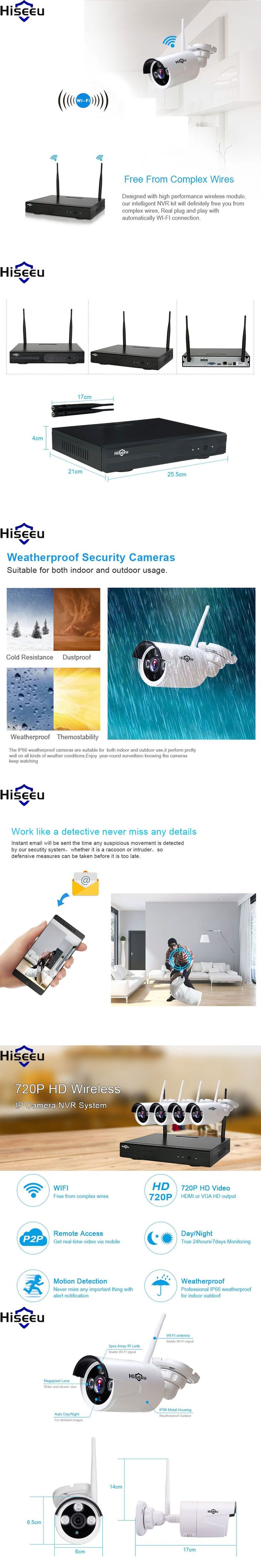 Hiseeu 4ch wifi NVR Wireless NVR IP Camera 720P Wireless CCTV System Set CCTV Camera Home Security System Surveillance Kit #homesecuritysystemcameras