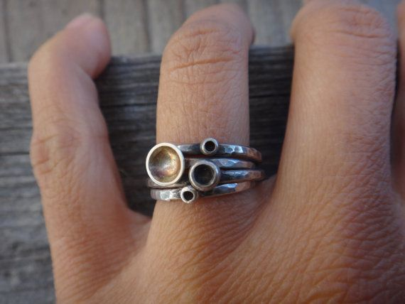 4 Cup Mushrooms Sterling Silver Stack Rings Made by EyvindsAlchemy