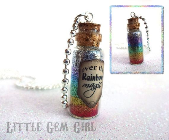 SALE - Wizard of Oz Somewhere Over the Rainbow Bottle Necklace - Going Away Gift Ruby Red Slippers Magic Potion Bottle Necklace on Etsy, $16.00