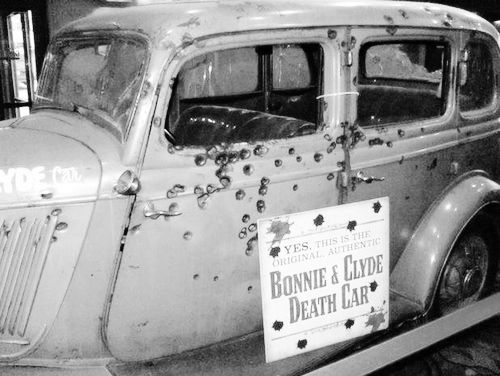 The aftermath of the infamous Bonnie and Clyde's car after they were ambushed.