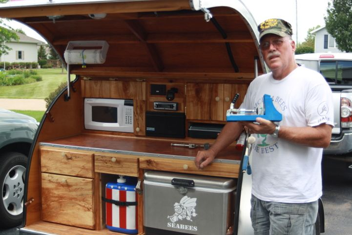 Teardrop trailer ideas for building our own pull out for Teardrop camper kitchen ideas