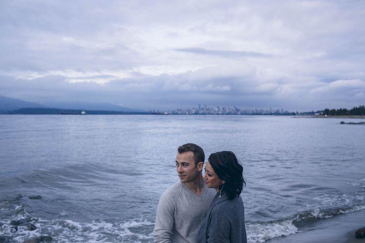 Vancouver City Skyline. Engagement session // Ocean // Blues // Landscape // Love // Couple Goals // Muskoka Wedding Photographer ©Eleanor Dobbins Photography