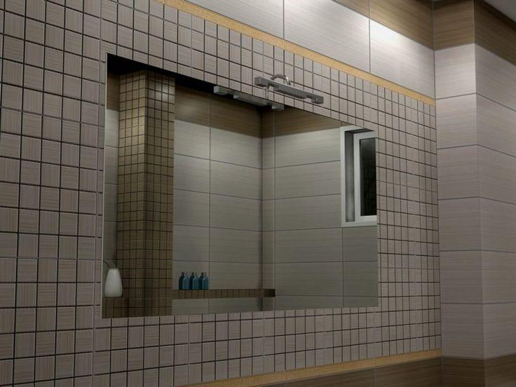 Επάνω από τον νιπτήρα και τον κτιστό πάγκο τοποθετήθηκε καθρέπτης με διάσταση 120 x 60 cm με φόντο την ψηφίδα της σειράς με διάσταση 5 x 5 cm.
