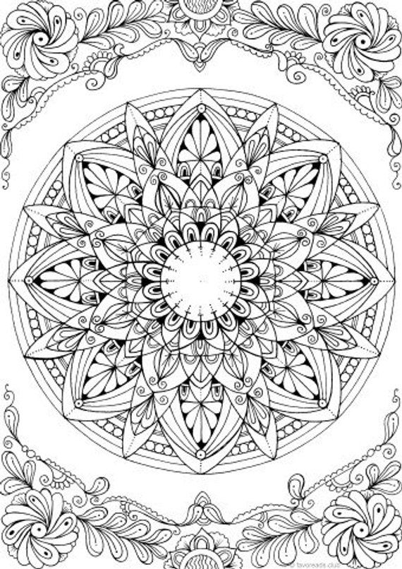 Mandala - Printable Adult Coloring Page from Favoreads ... | free mandala colouring pages for adults