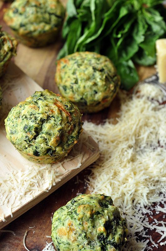 Pesto Spinach Parmesan Muffins