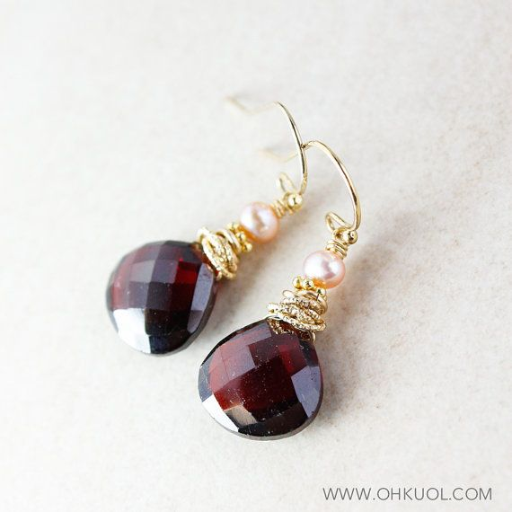 Freshwater Pink Pearl and Red Garnet Earrings 14KT Gold by OhKuol