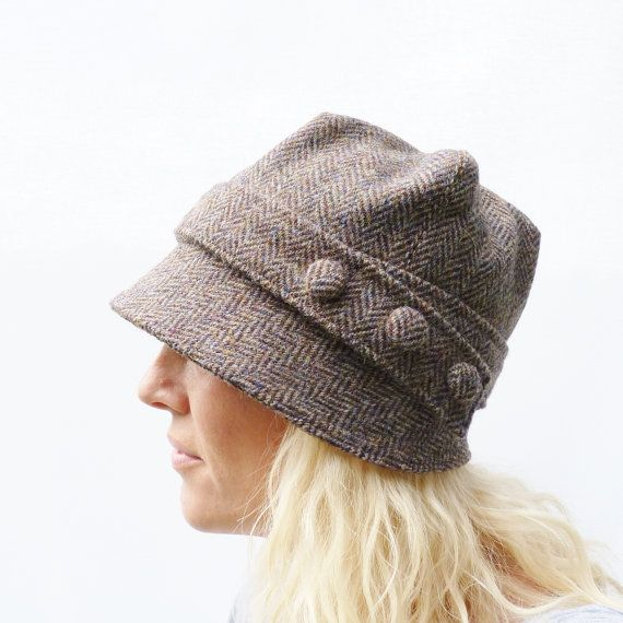 Harris Tweed Cloche Hat - Multi Autumnal Colour Herringbbone, Women's Hat, Fabric Hat, Wool Hat on Etsy, $59.50