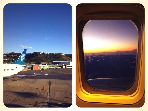 After all that wild weather in @Wellington_NZ on Friday, this was what we flew out from in the evening @FlyAirNZ