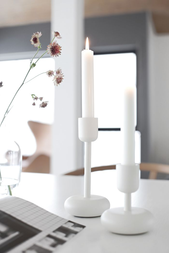 Nappula candle holder by Iittala. Would need one more white, the shorter one.