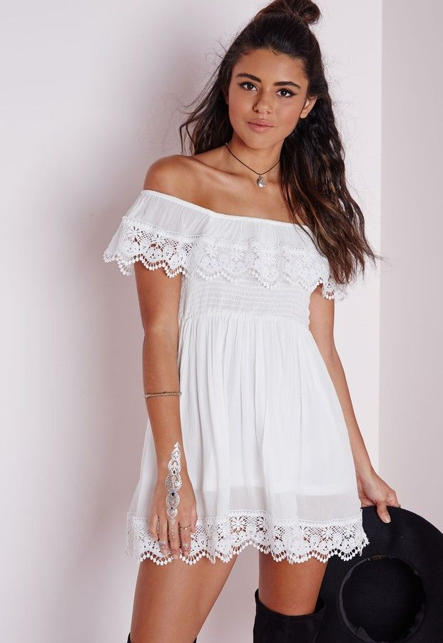 $70, White Crochet Skater Dress: Missguided Cheesecloth Crochet Trim Bardot Skater Dress White. Sold by Missguided. Click for more info: https://lookastic.com/women/shop_items/241535/redirect