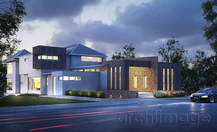 Architectural Render of a modern house exterior with timber stone. House designed by Boyd Design Perth.