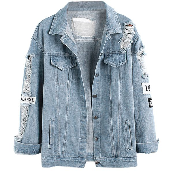 Light Blue Letter Patch Ripped Pockets Denim Coat ($33) ❤ liked on Polyvore featuring outerwear, coats, jackets, tops, denim coat, light blue coat and blue coat