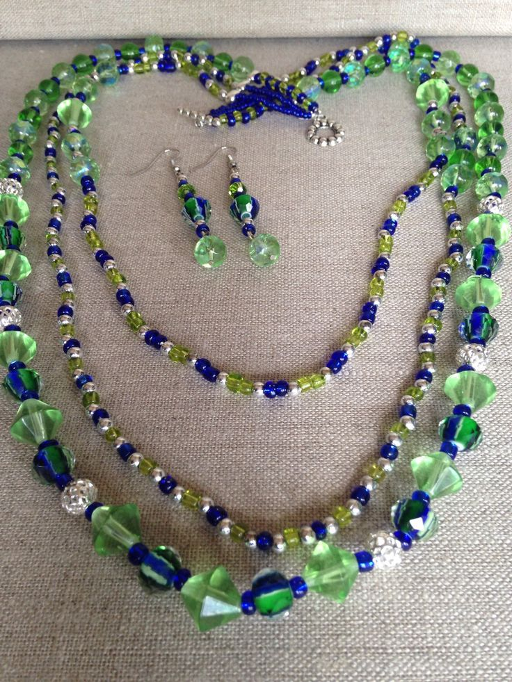 A personal favorite from my Etsy shop https://www.etsy.com/listing/235992338/blue-green-multi-strand-beaded-necklace