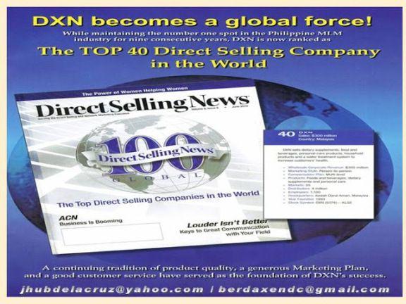 La serietà fa il successo. DXN tra i primi nel mondo.