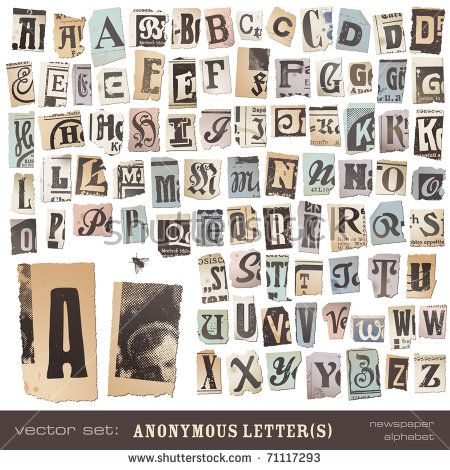 20 best cut out illustration and fonts images on pinterest vector set alphabet based on vintage newspaper cutouts ideal for your threatening letters spiritdancerdesigns Gallery