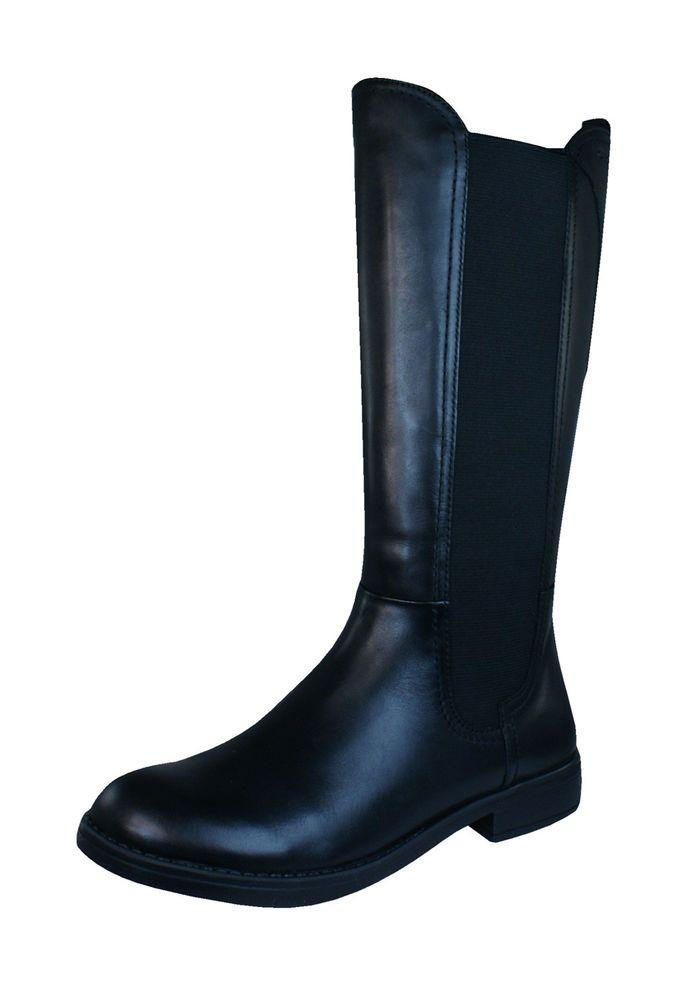 5471c2a22d9b eBay  Sponsored Geox J Sofia C Junior Girls Leather Tall Knee High Boots -  Black - See Sizes