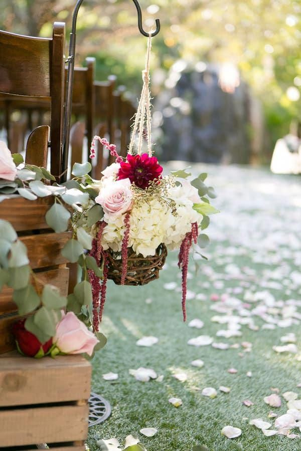 Ceremony Aisle Decor Hanging Baskets With Cream Pink And Maroon