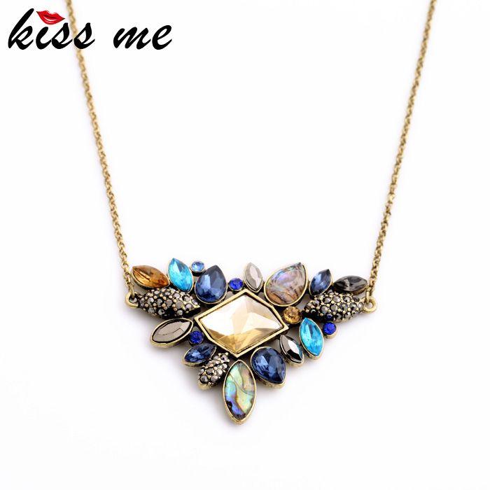 KISS ME Exquisite Rhinestone Pendant Necklace 2016 Wholesale Newest Fashion Thin Chain Collar Necklace Jewelry *** Vy mozhete poluchit' dopolnitel'nuyu informatsiyu po ssylke izobrazheniya.