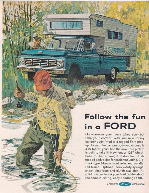 Old Camper Ads | 1964 Ford, 100 Popular, Campers, Auto History, April 1964, 100 Pick ...