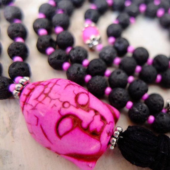 Lava Rock Mala Beads / Prayer Beads - Hot Pink Buddha - Japa Mala Meditation Beads - Strength and Courage