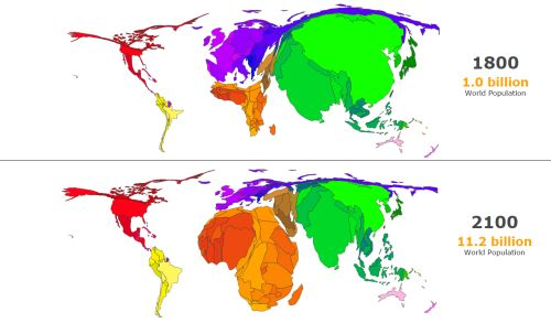 World population cartogram, 1800 and 2100.