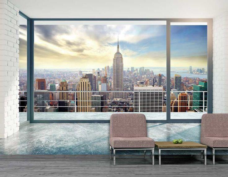 poster grand format en trompe loeil avec vue magnifique sur new york - Poster Mural Grand Format