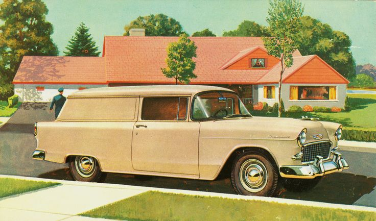 Here's Chevy's Model 1508 Sedan Delivery with styling borrowed from the all-new 1955 passenger cars.  The body was essentially the same as the 2-door station wagon with blank rear side panels in place of windows.  8811 of them were produced this year.