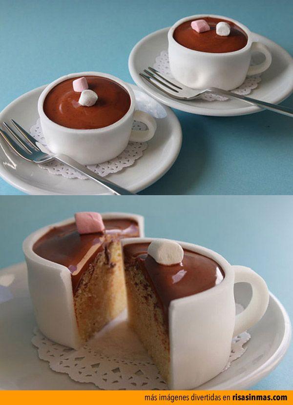 Cupcakes originales: taza de chocolate.