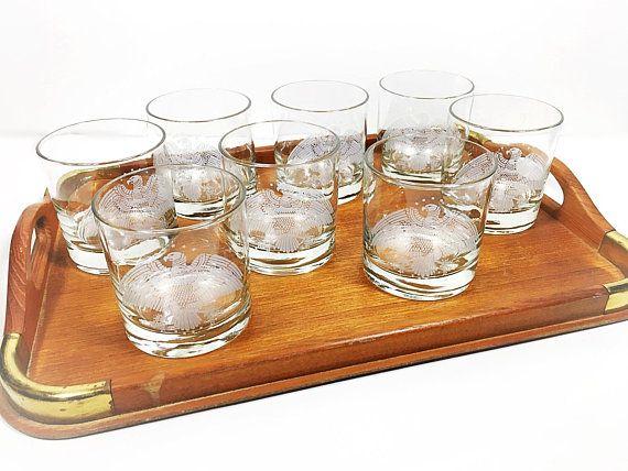 Set of 3 Vintage Harlequin Orange Licquor Shot Glasses