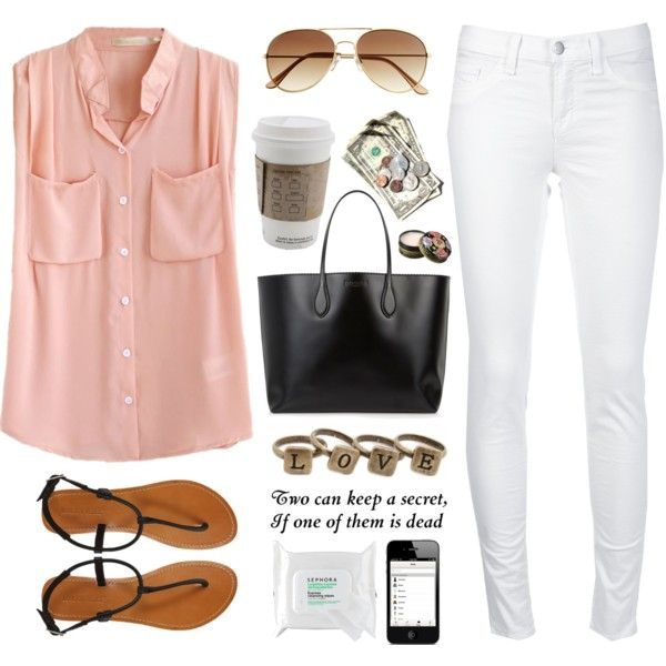 Pink Tunic and White Skinny Jeans :)