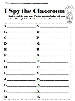 This activity is fun for the beginning of the school year. Students try to find something in the classroom for each letter of the alphabet! Too fun!