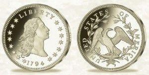 Replika Flowing Hair Liberty Dollar z roku 1794