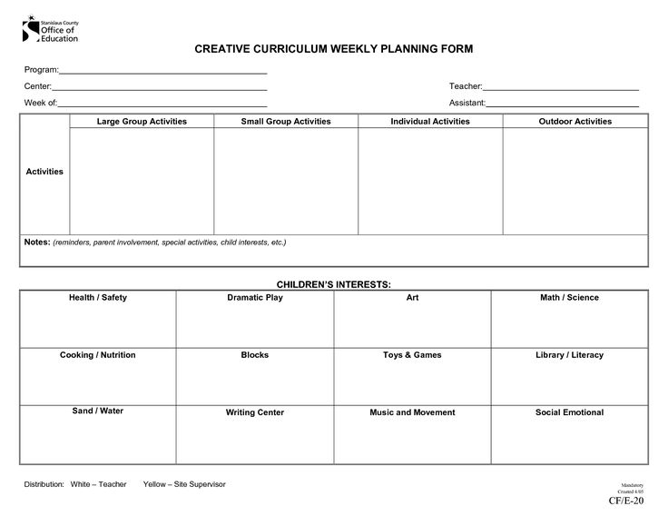 Creative Curriculum Blank Lesson Plan | CREATIVE CURRICULUM WEEKLY PLAN