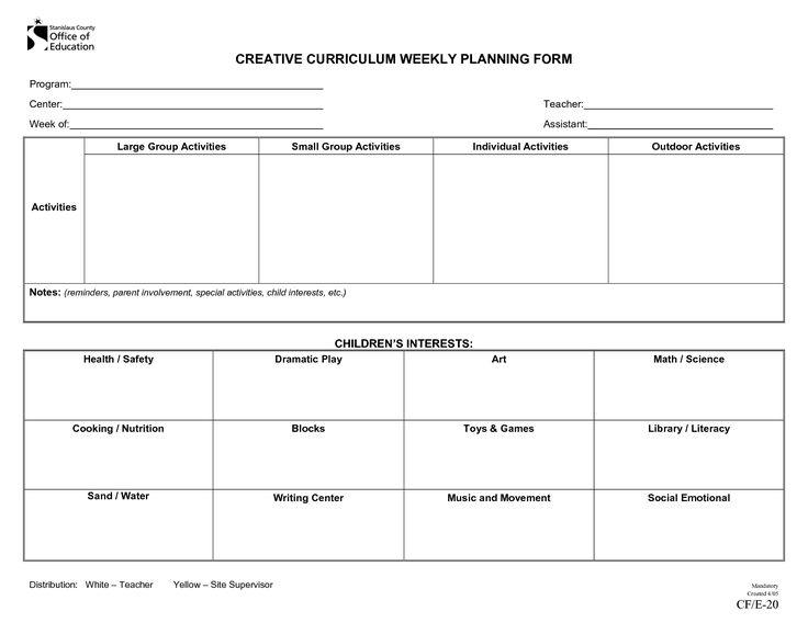 Creative Curriculum Weekly Plan Documentation Ideas Curriculum